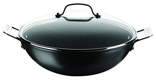 Circulon Generic Hard Anodised Wok With Glass Lid, 34 cm - Black