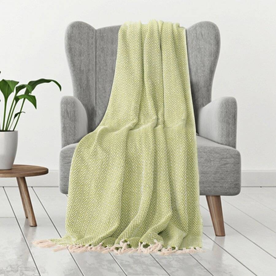 Cotton Zigzag Handwoven Single Bed Or Arm Chair Throw  - Green