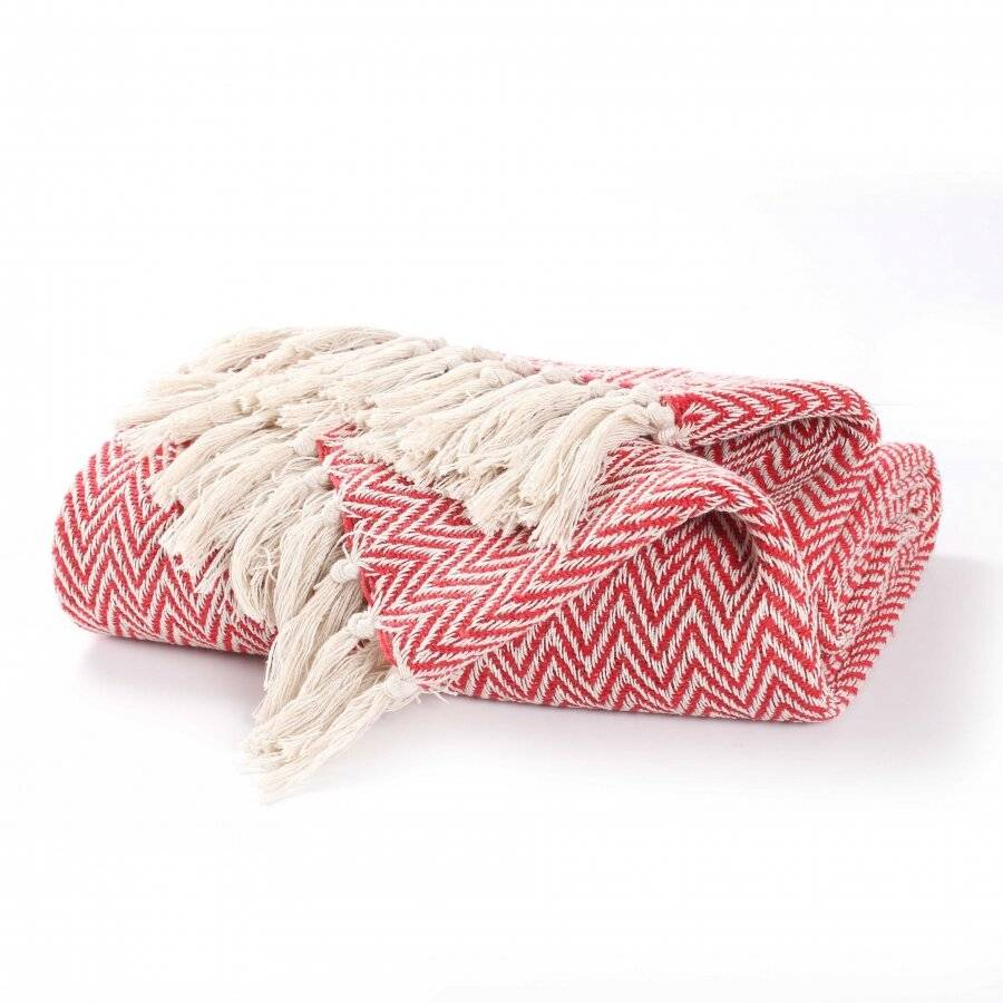 EHC Cotton Zig Zag Handwoven Single Bed or Armchair Throw - Red