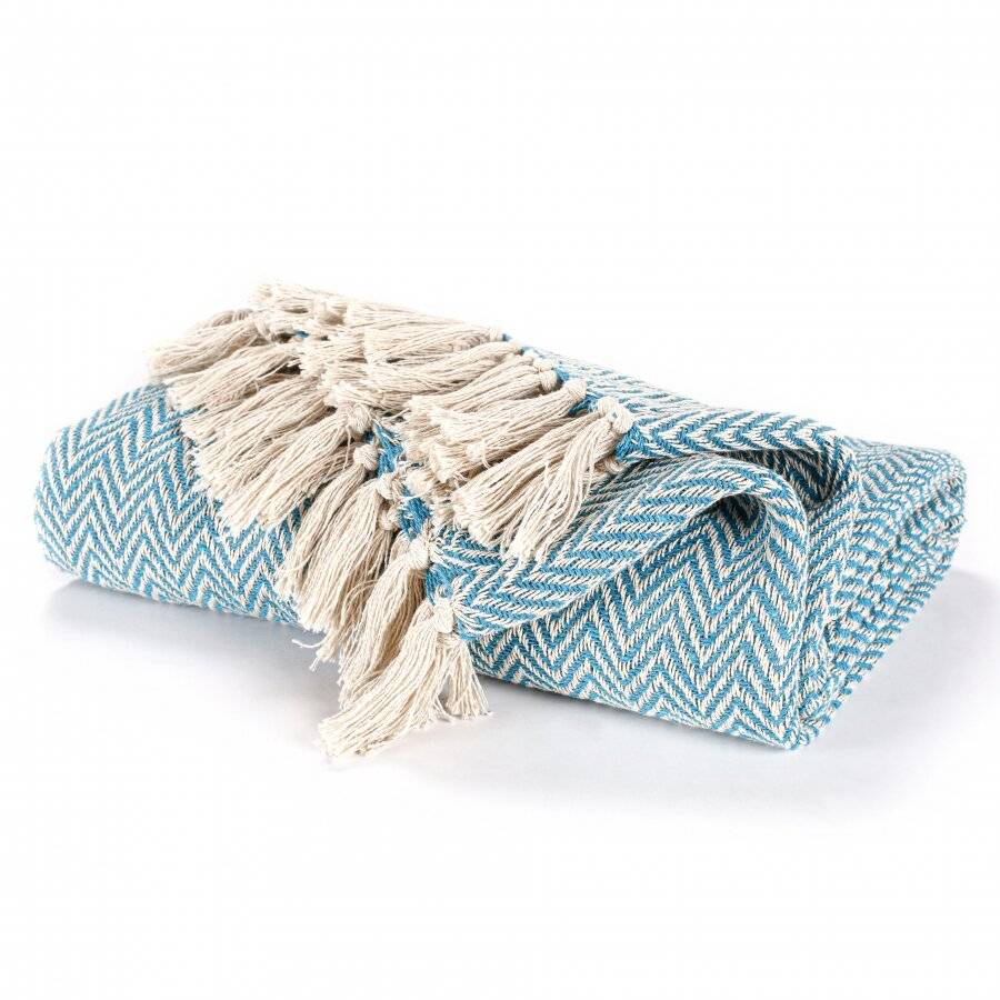 Cotton Zig Zag Handwoven Single Bed or Armchair Throw  - Teal