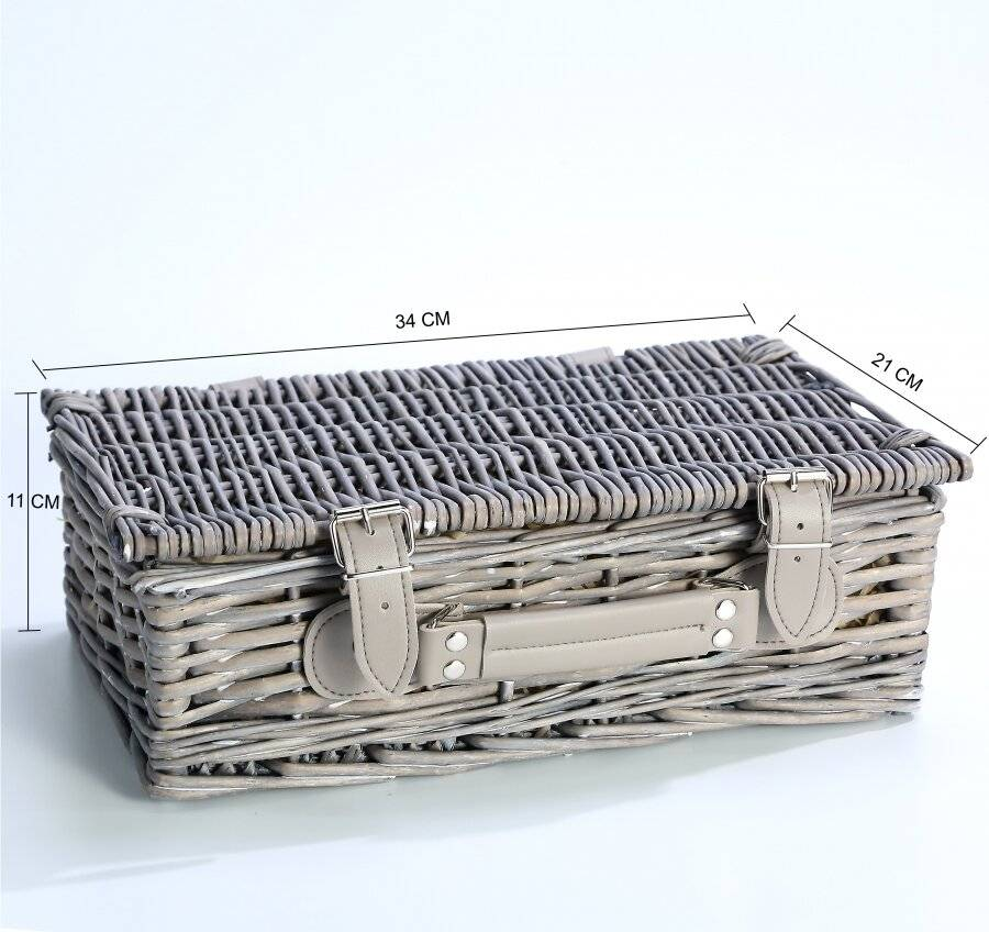 Create Your Own Wicker Gift Hamper Basket With Faux Leather Straps - Grey