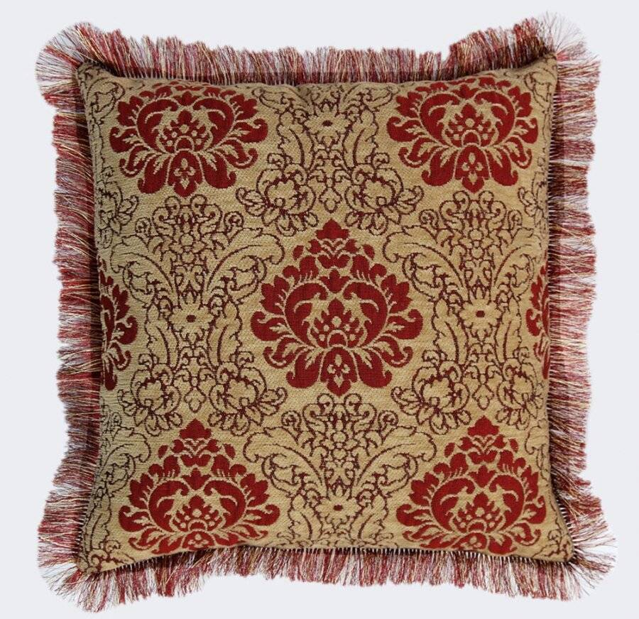 Damask  Chenille Jacquard Cushion Cover With Rafael Fringed