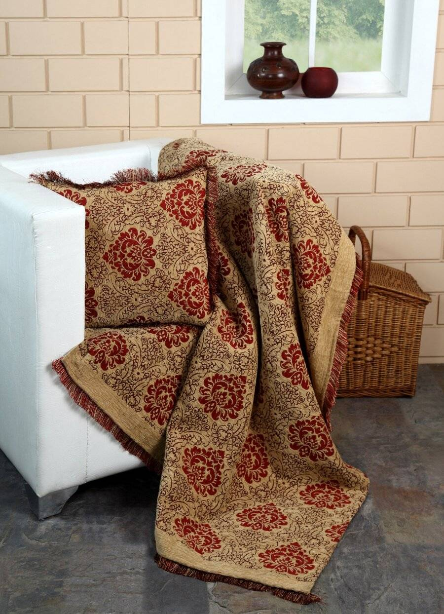 Damask Chenille Jacquard Throw For Single Bed and Armchair - Beige