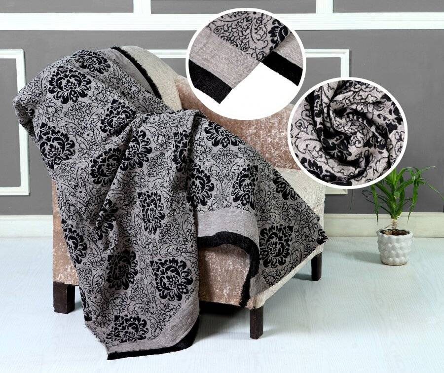 Damask Chenille Jacquard Throw For Single Bed and Armchair - Smoke