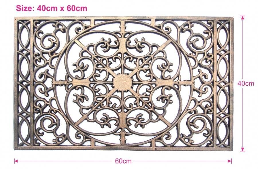 Decorative Wrought Iron Effect Rubber Grill Door Mat- Bronze Finish