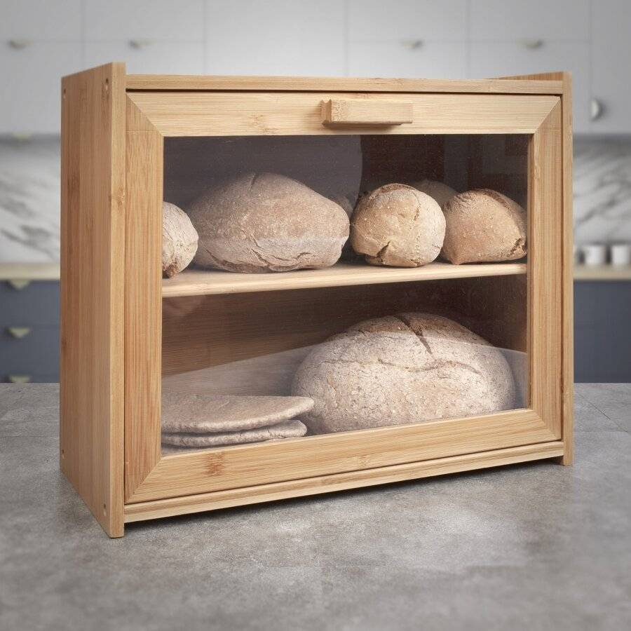 Dual-Shelf Bread Bin With drop-down front Door - 40 x 17.3 x 31 (H) cm