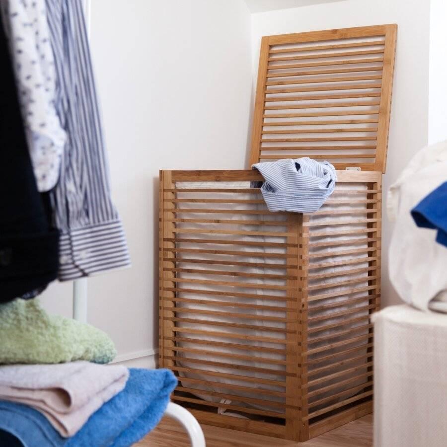 Durable Bamboo Wood, Laundry Storage Basket With Lining