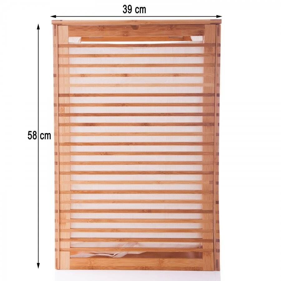 Durable Bamboo Wood Laundry Storage Basket with Lining