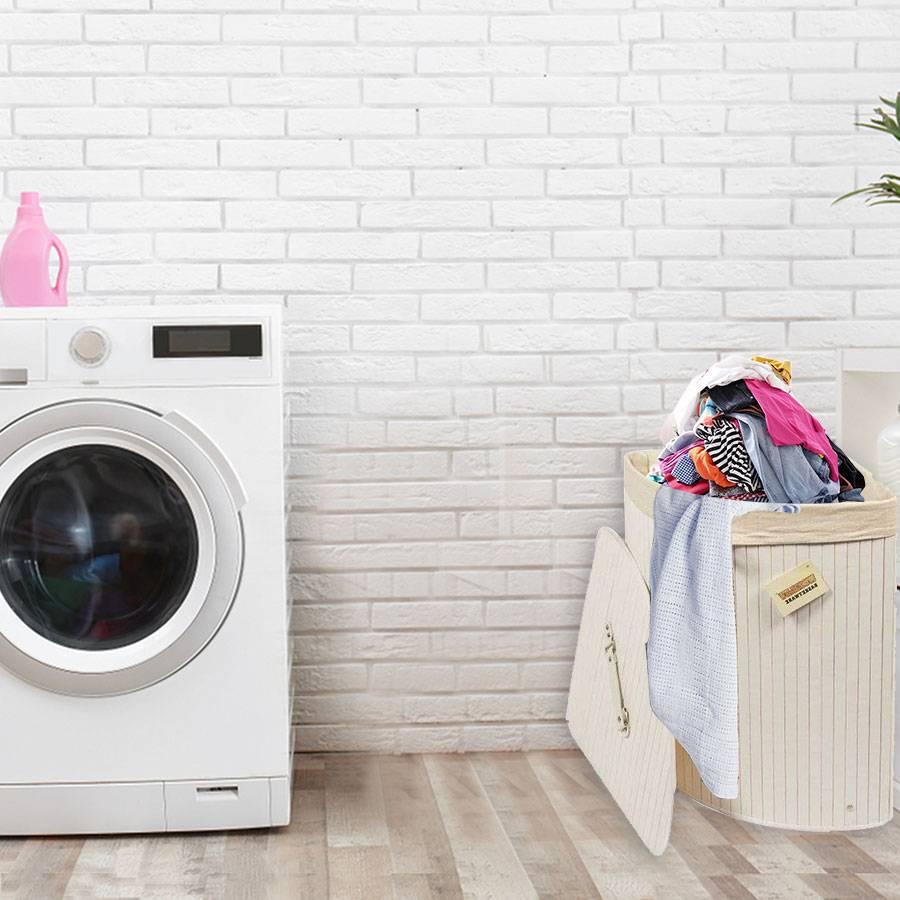Woodluv Bamboo Corner Laundry Linen Storage Folding Basket, White