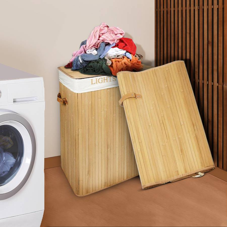 Woodluv Rectangular Folding Bamboo Laundry Basket With 2 Compartment