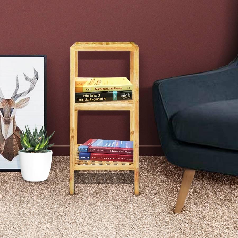 Solid Wood Three Tier Storage Shelf - Walnut Bookshelf