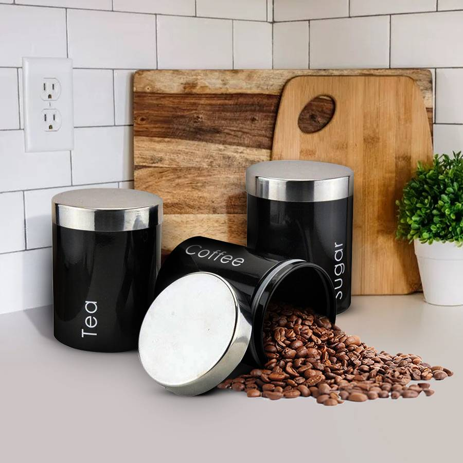 Set of 3 Stainless Steel Tea, Coffee & Sugar Canister - Black