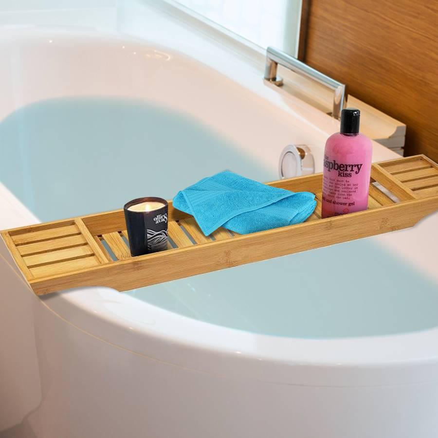 Woodluv Luxury Natural Bamboo Wood Bathtub Caddy/ Bath Bridge