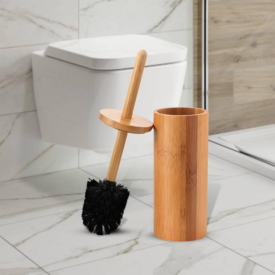 Woodluv Natural Bamboo Wood Toilet Brush & Holder - Round