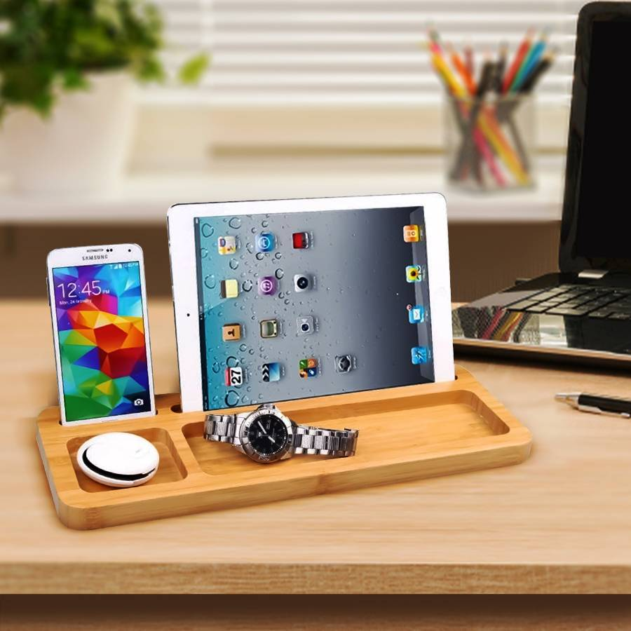Universal Tablet iPad Smartphone Stand With Accessories Holder