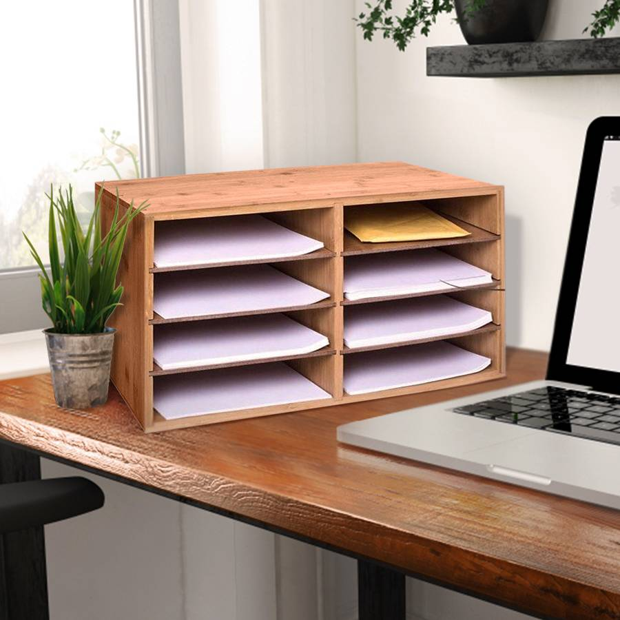 Woodluv Large Bamboo A4 Size Document Organizer With 8 Compartments