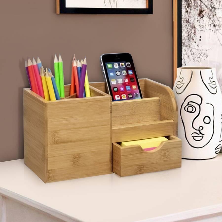 Bamboo Multi Purpose Desk Stationery or Make-up Organizer
