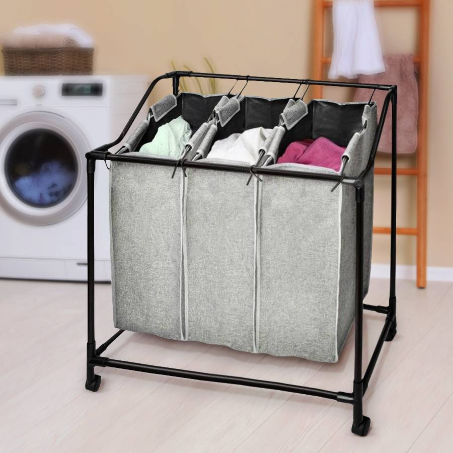 Laundry Collector Removable With 3 Fabric Bags, Laundry on Wheels