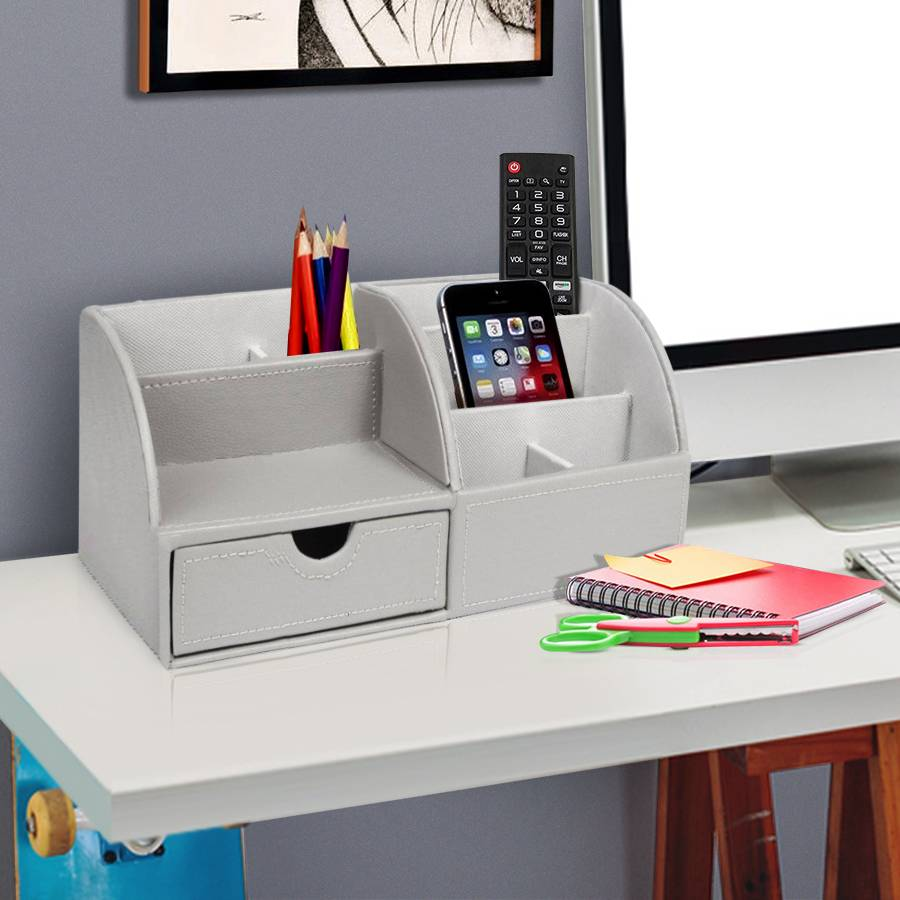 EHC Faux Leather Desk Stationery Storage Organizer - Grey