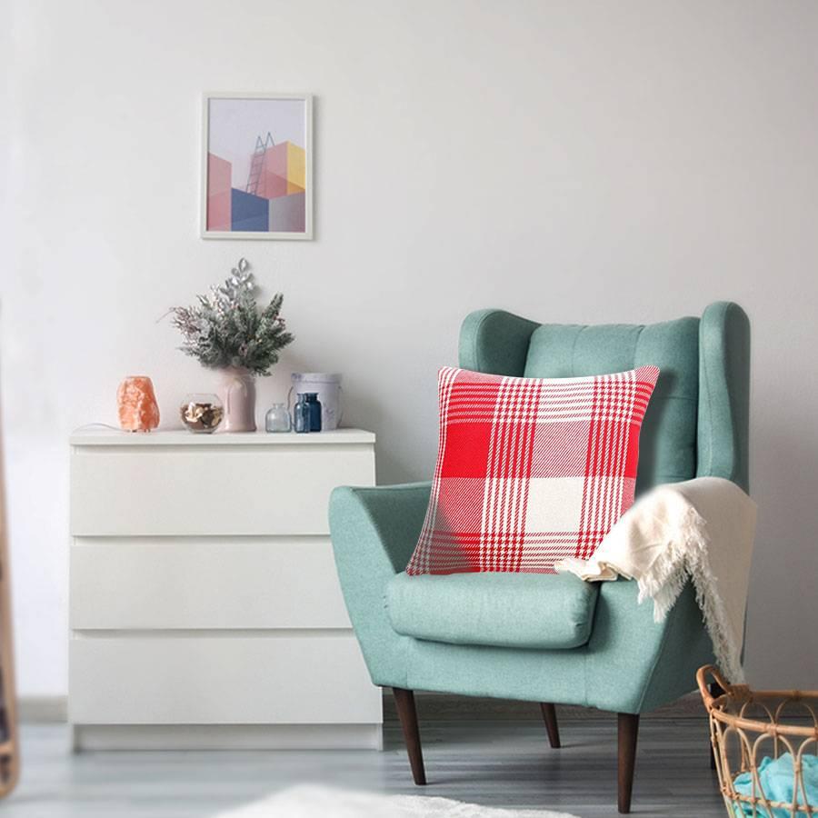 Premium Tartan Cotton Cushion Cover - Red (45 cm x 45 cm)