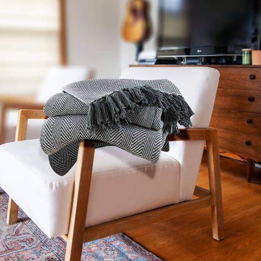 2 Tone King Size Herringbone Cotton Bedspread, 225 cm x 220 Cm - Grey