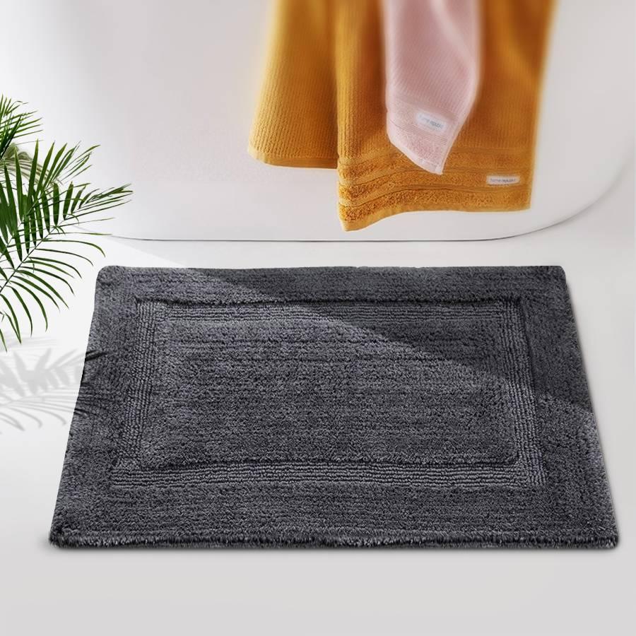 Super Absorbent Heavy Pile OxFord Non-Slip Bath Mat - Smoke