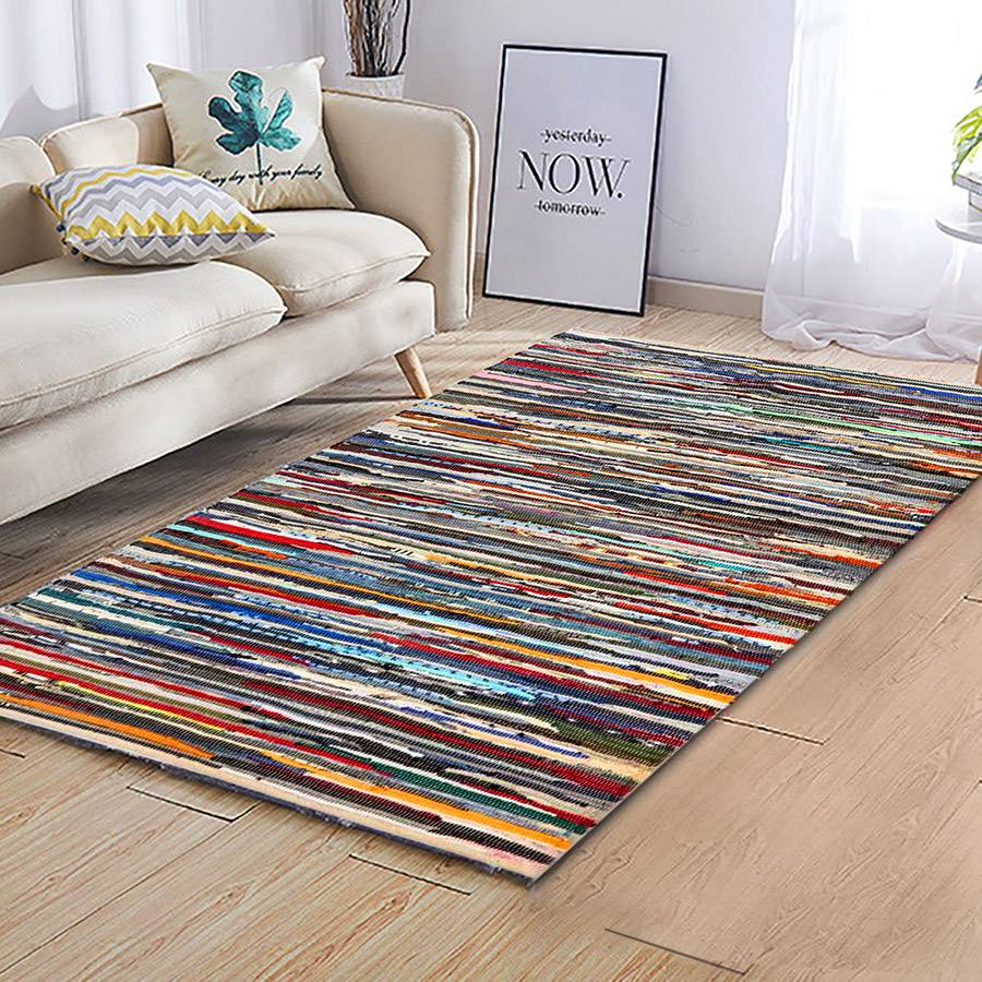 Recycled Cotton Multi Coloured Chindi Floor Rug - 160 x 230 cm