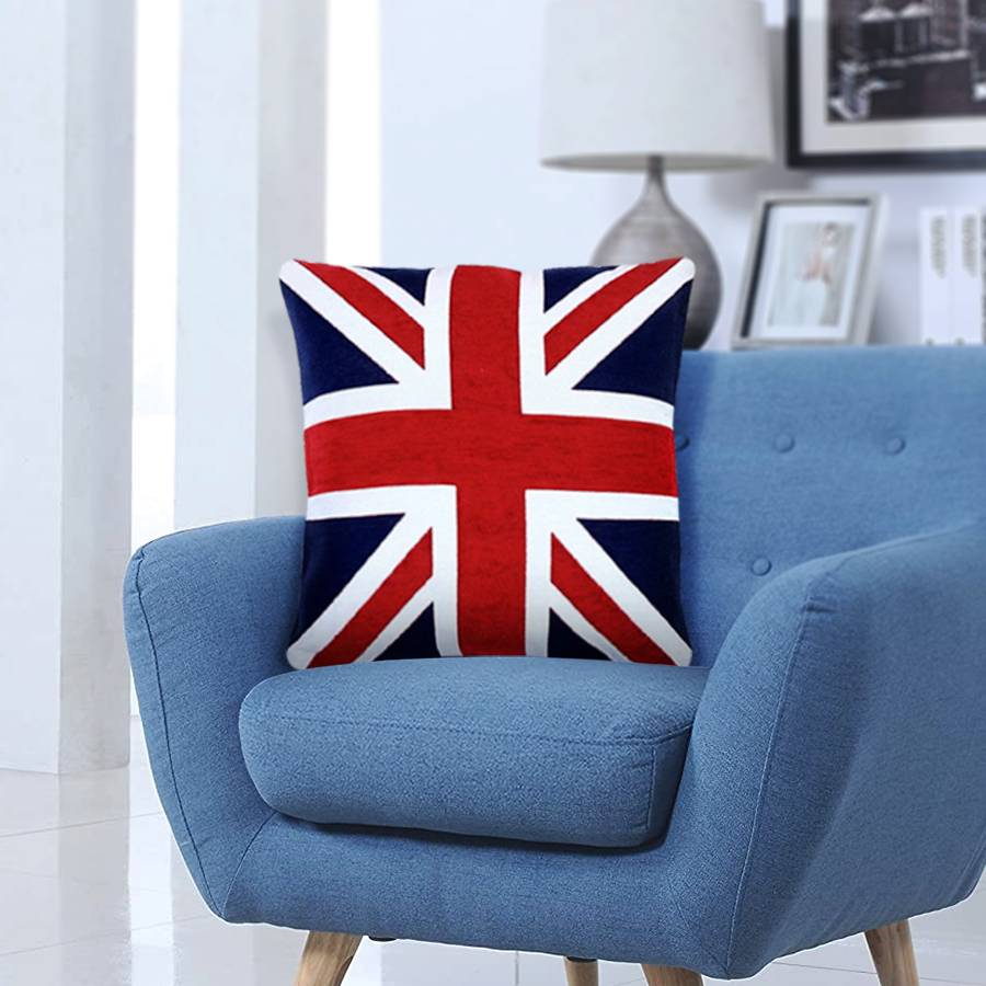 Union Jack Design Chenille Jacquard Cushion Cover - Red & Blue