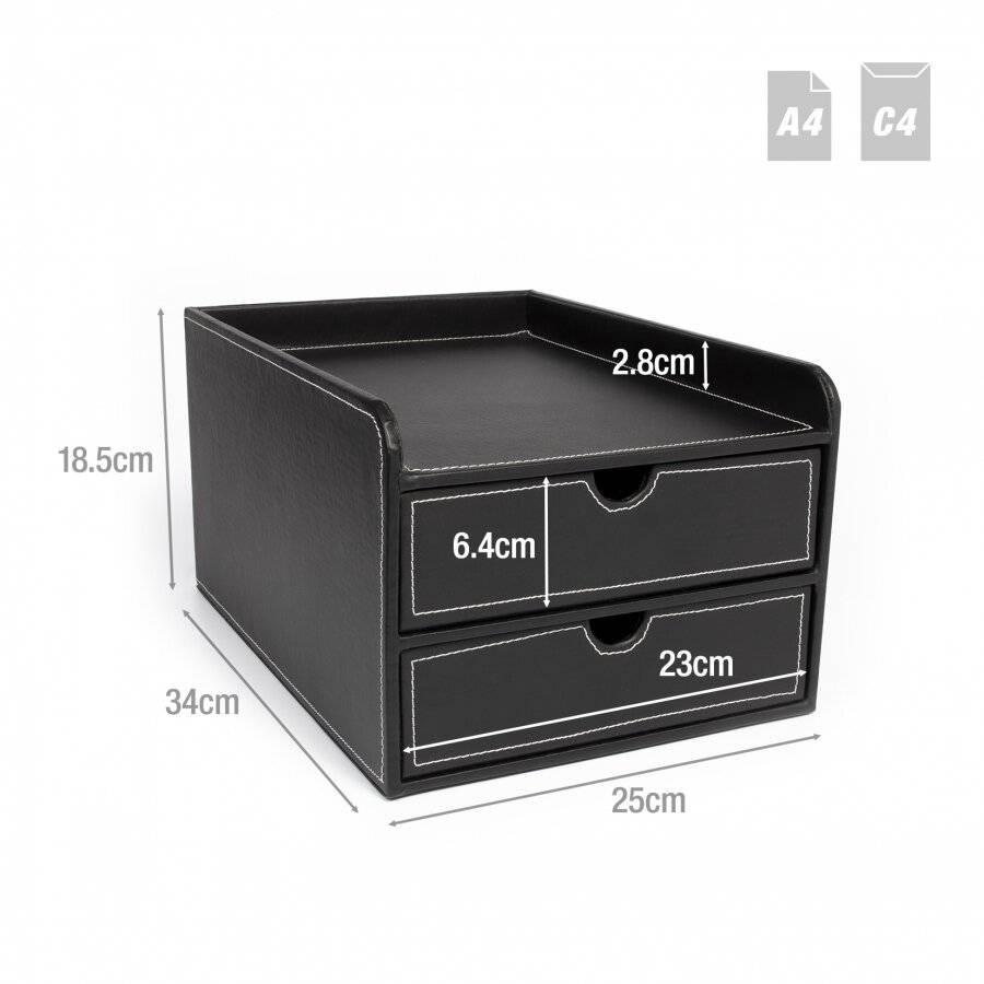 EHC 2 Drawer Faux Leather A4 Stationary Storage Organiser Unit - Black