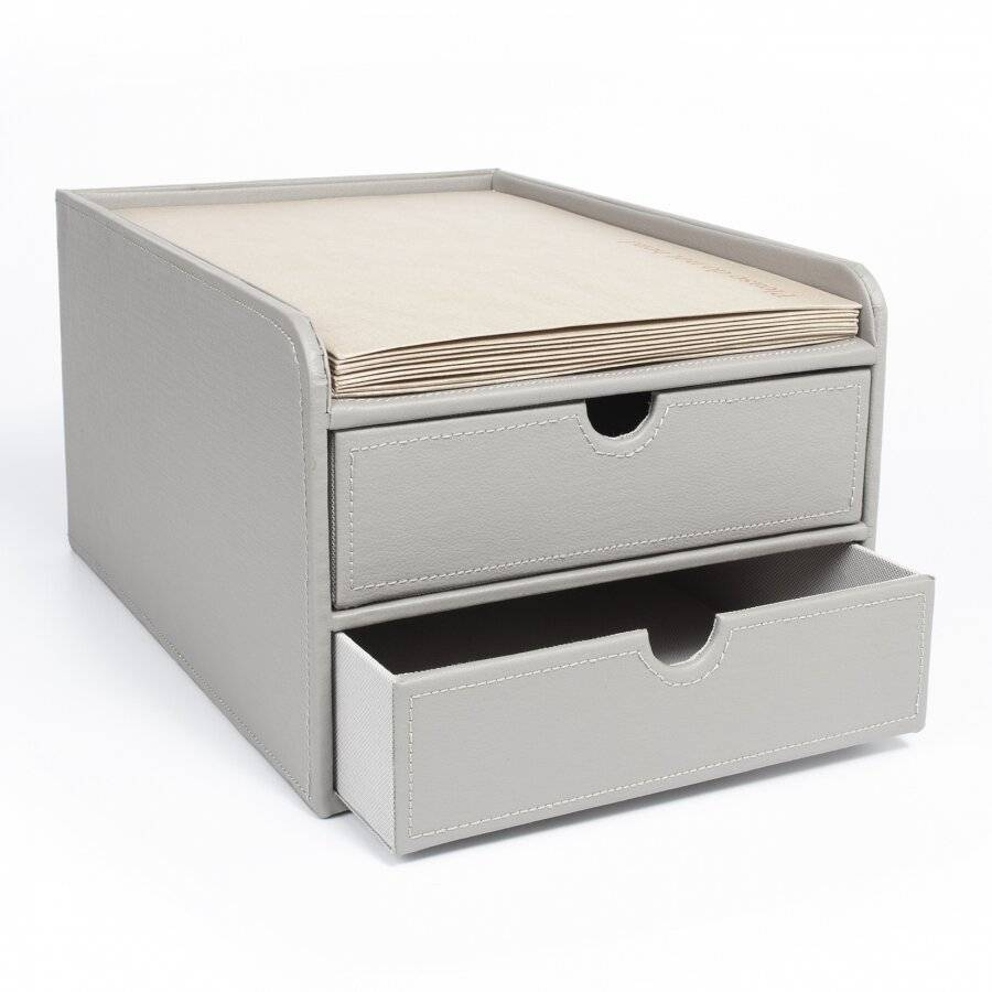 EHC 2 Drawer Faux Leather A4 Stationary Storage Organiser Unit - Grey