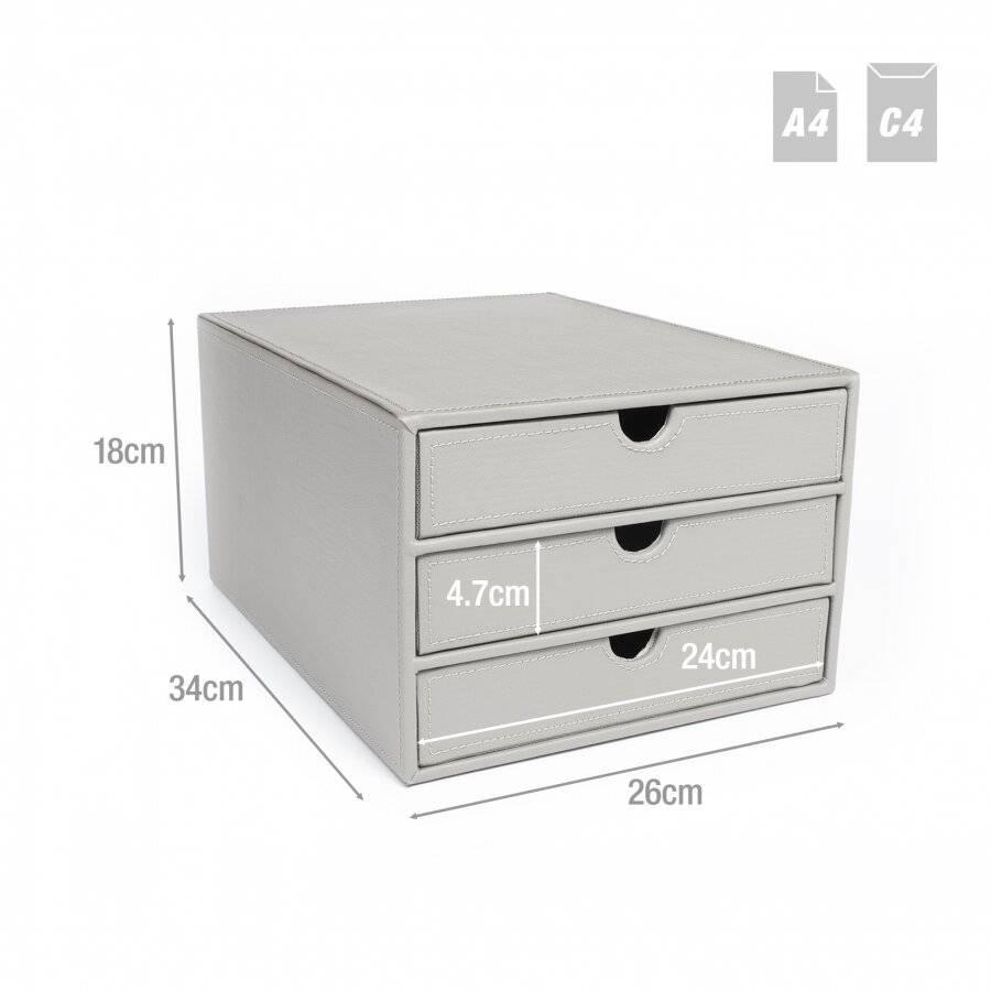 EHC 3 Drawer Faux Leather  A4  Stationary Storage Organiser - Grey