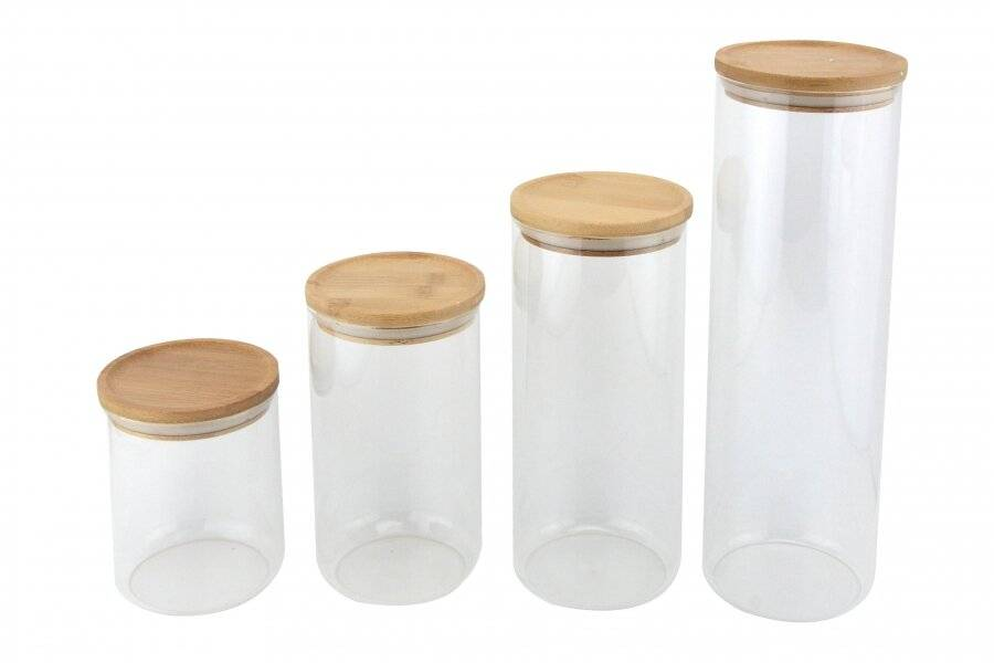 EHC 4 x Round Airtight Stackable Glass Storage Jars Container Canister