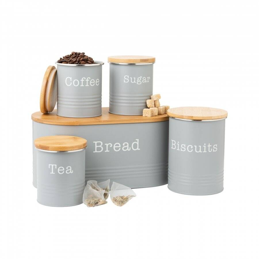 EHC 5 piece Tea, Coffee, Sugar, Biscuit and Bread Canisters, Grey