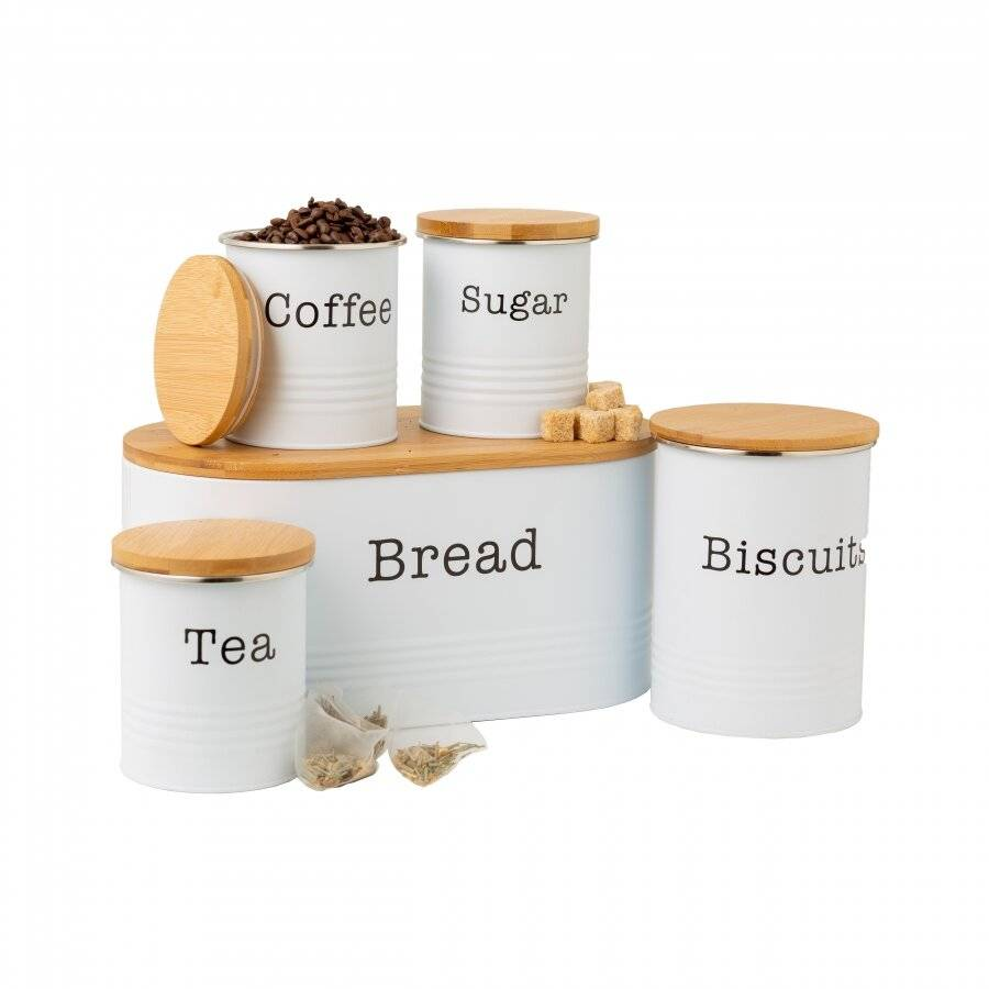 EHC 5 piece Tea, Coffee, Sugar, Biscuit and Bread Canisters, White