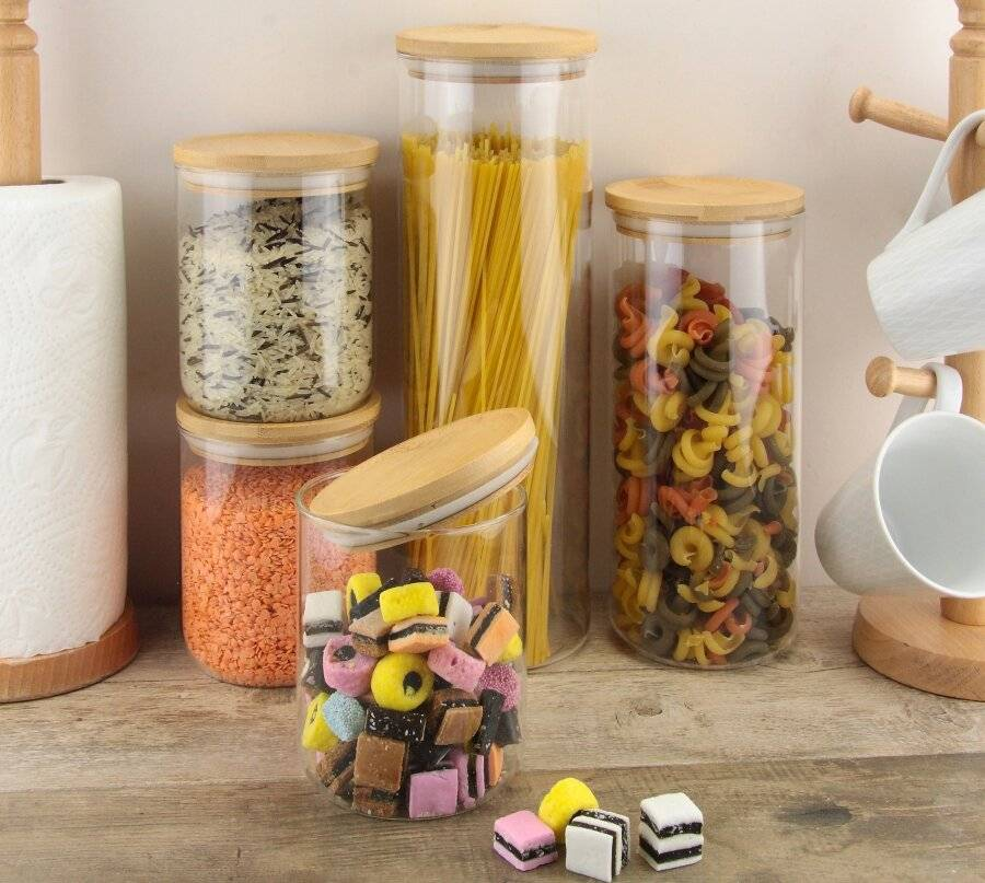 EHC 5 x Borosilicate Airtight Stackable Storage Jar With Bamboo Lid