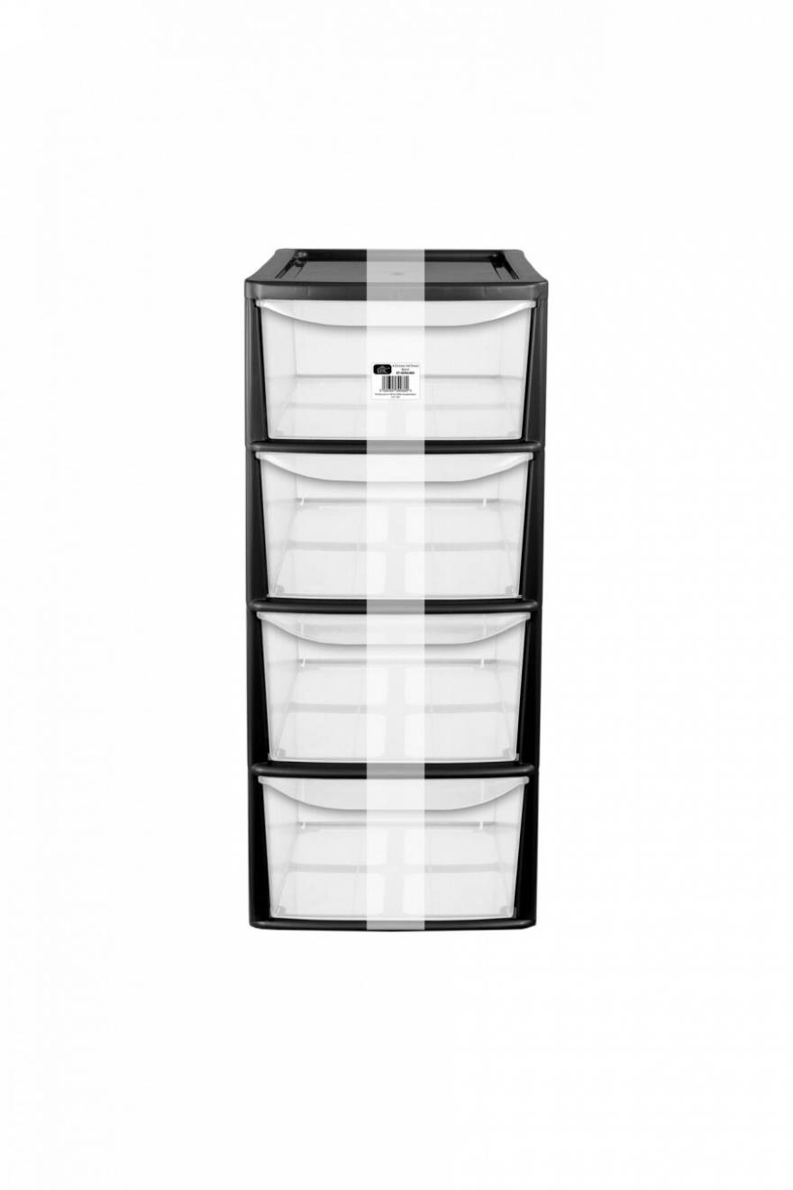 EHC A4 4 Drawer Tall Tower Plastic Storage Unit - Black	Frame