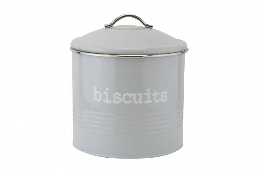 EHC Airtight Round Shaped Biscuit Storage Canister - Grey