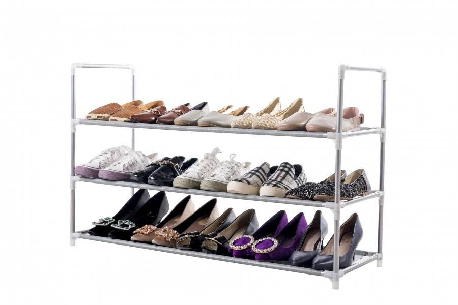 Black 3 Tier Large Capacity Metal Shoe Organizer With Non Woven Cover