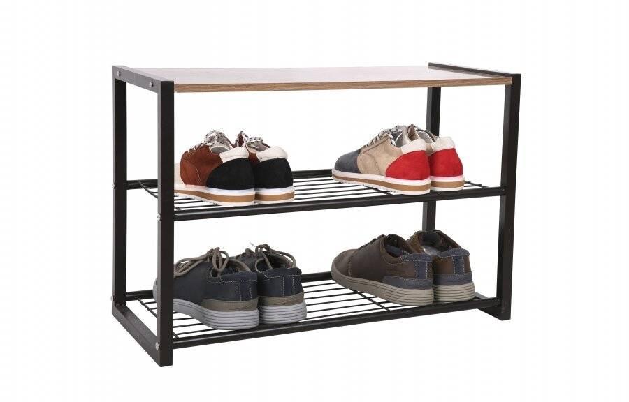 EHC Black 3 Tier Large Capacity Metal Shoe Organizer