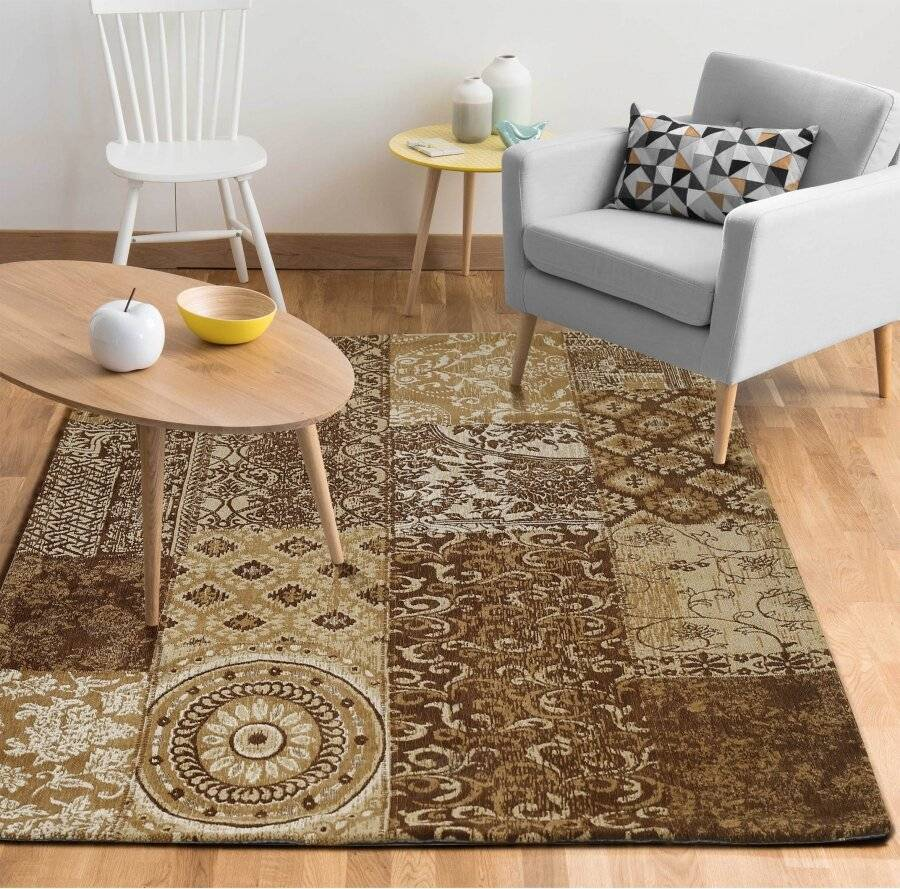 Chenille Patchwork 120 x 160cm Floor Carpet Rug - Brown