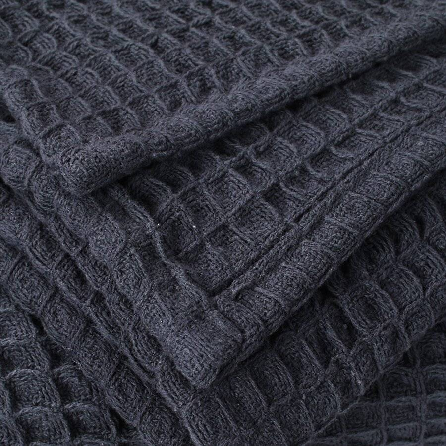 EHC Luxuriously Soft Chunky Cotton Waffle Throws, King Size - Charcoal