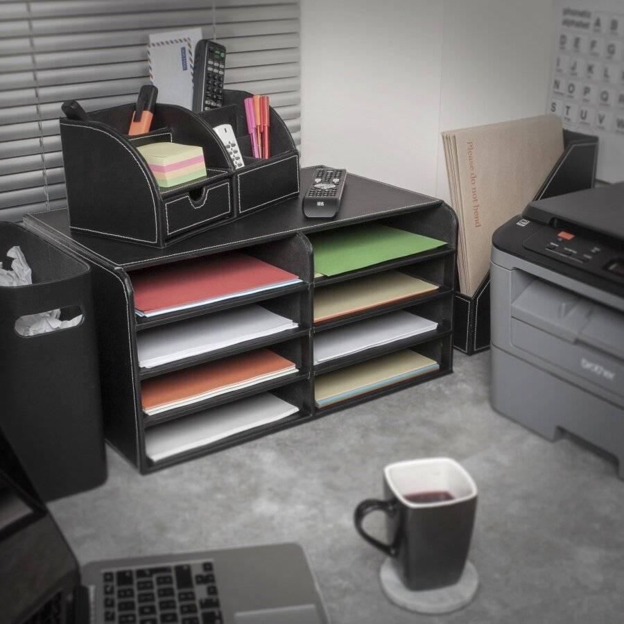 EHC Faux Leather Desk Stationary Storage Organiser - Black
