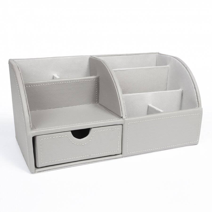 EHC Faux Leather Desk Stationary Storage Organiser - Grey
