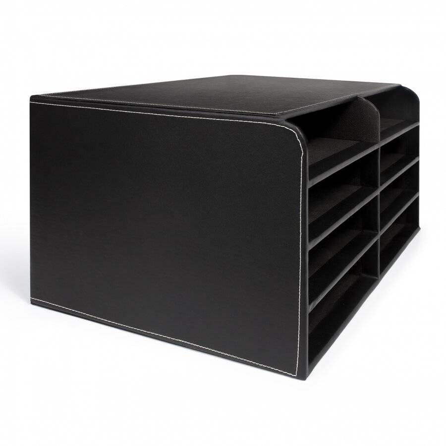 EHC Faux Leather Large 8 Compartments A4 Size File Organizer - Black