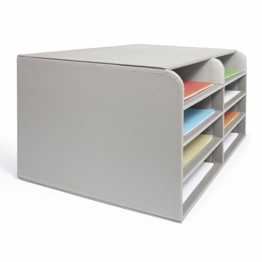 EHC Faux Leather Large 8 Compartments A4 Size File Organizer - Grey