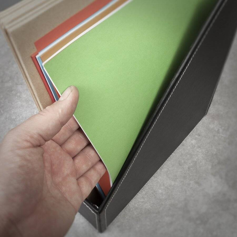 EHC Faux Leather Magazine Holder/ Letter Storage Unit - Black
