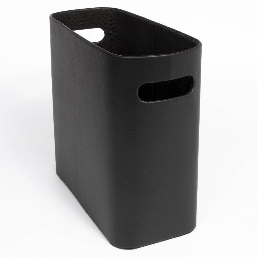 EHC Faux Leather Waste Paper Basket Bin For Home & Office - Black