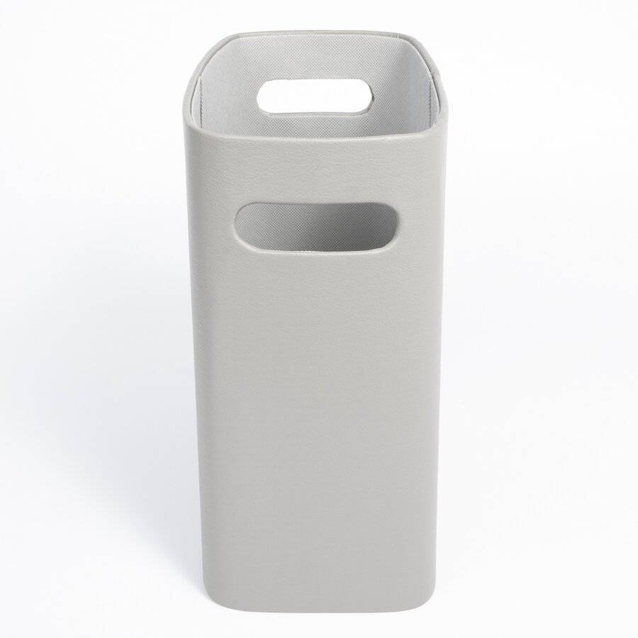 EHC Faux Leather Waste Paper Basket Bin For Home & Office - Grey