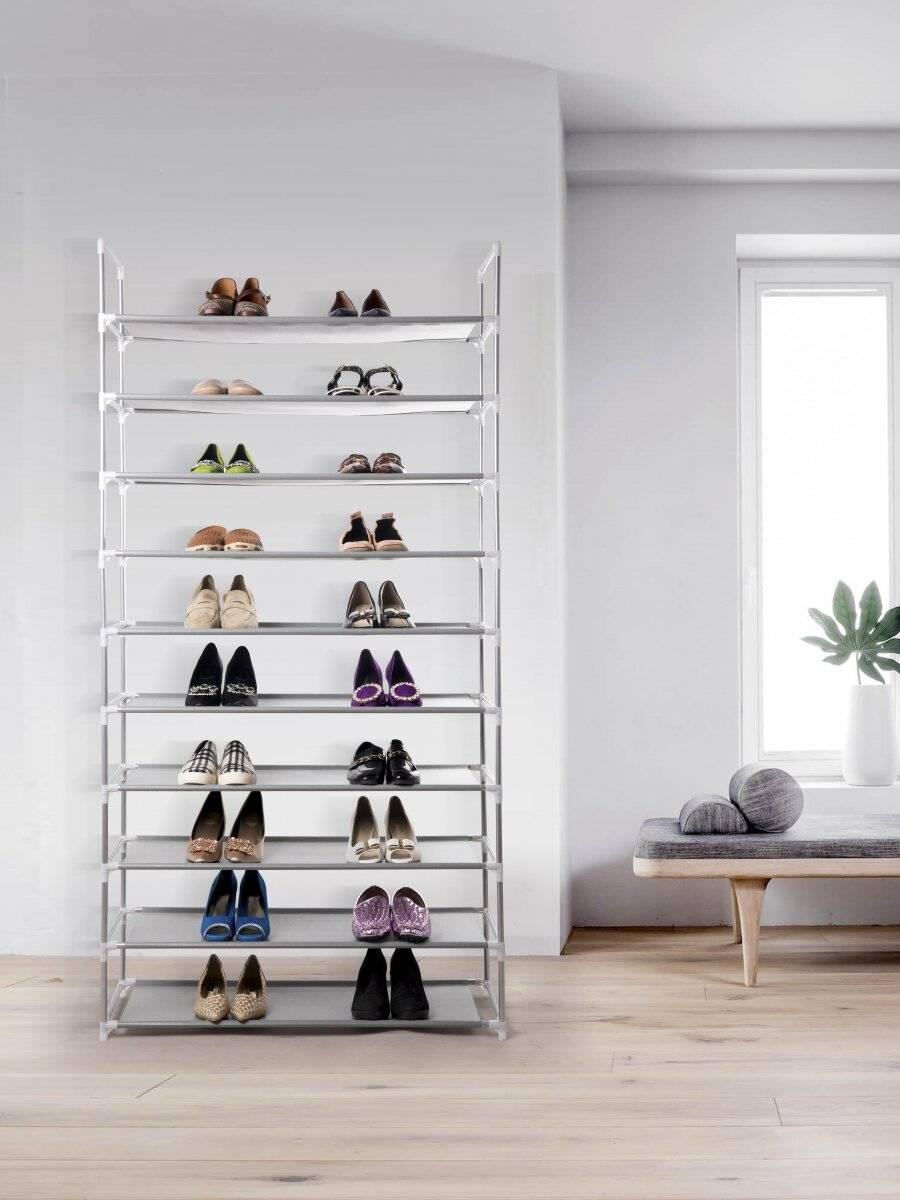 10 Tier Maximum Capacity Metal Shoe Organizer With Non Woven- Grey