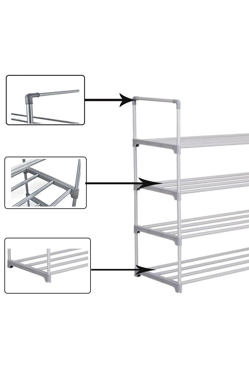4 Tier Durable Large Capacity Metal Shoe Organizer - Grey